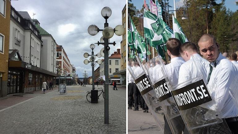 Ludvika centrum och nazistiska Nordiska Motståndsrörelsen.
