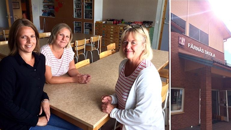 Tre kvinnor sitter vid ett bord i ett klassrum, bredvid syns en bild på ingången till Färnäs skola.