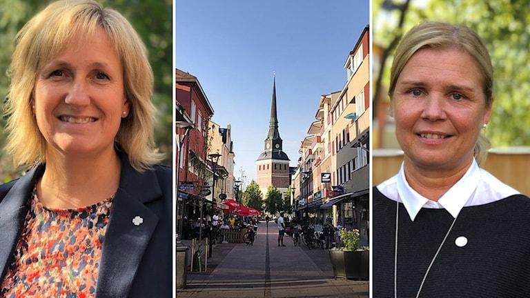 Anna Hed (C) och Malin Höglund (M) och Mora centrum