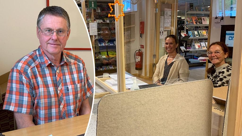 En man med rutig skjorta och en infälld bild på två kvinnor bakom ett plexiglas.