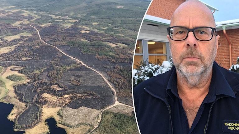 En flygbild över Torgåsbranden och Per Hampus, räddningschef i Malung-Sälens kommun.