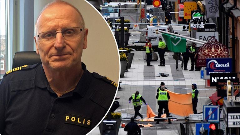 Lars Lindahl, polisområdeschef Dalarna och en bild på attacken i Drottninggatan.