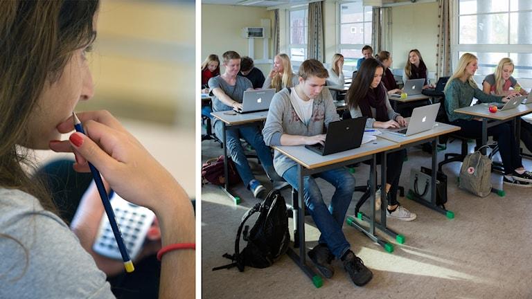 Kvinna med miniräknare till vänster, elever i klassrum till höger.