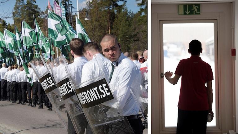 Bild på dels en lång rad män i vita skjortor och med grönvita flaggor och sköldar, dels en silhuett av en person som står och tittar ut genom en glasdörr.