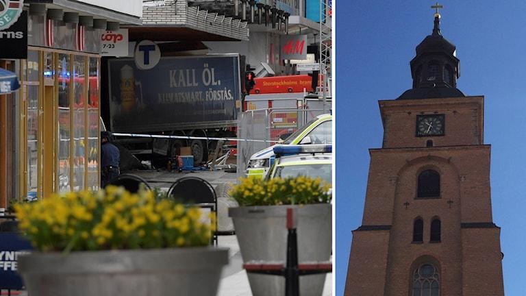 Lastbilen som körde in i varuhuset på Drottninggatan och en inklippt bild på Kristine kyrkas kyrktorn.