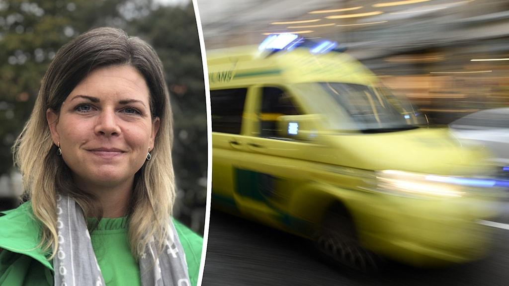 Kvinna med grön jacka samt ambulans under utryckning.