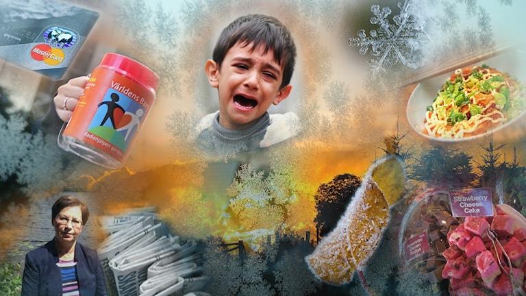 collage av gråtande barn, solnedgång, världens barn-bössa, anna Hagwall och mat och marknadsgodis