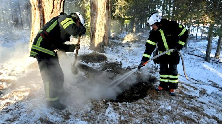 Två brandmän sprutar vatten på snötäckt mark för att släcka en markbrand. Det ryker om marken.