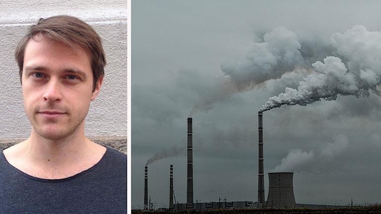 Hannes Willner och en bild på skorstenar som släpper ut föroreningar