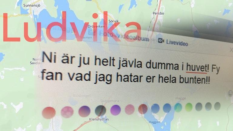 En karta över Ludvika och en skärmdump där någon skrivit en kränkande kommentar