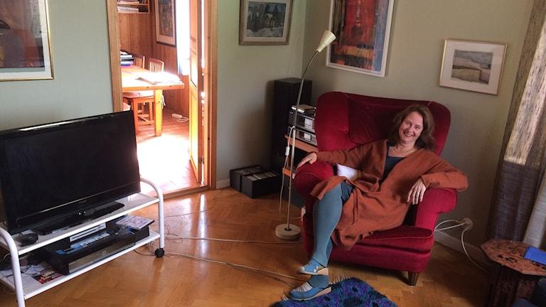 Vardagsrummet hos designhistorikern Maria Perers.
