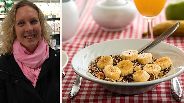 Mathilda Strand som är dietist och en tallrik flingor med banan