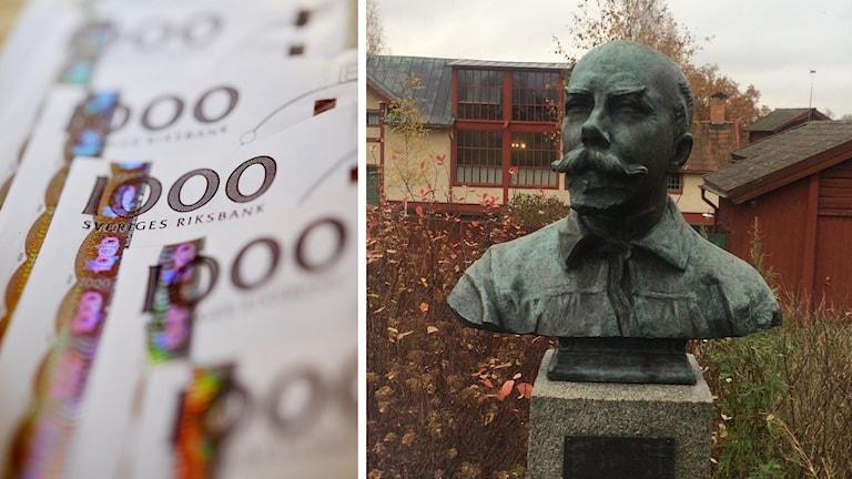 Sedlar och en staty av Carl Larsson.