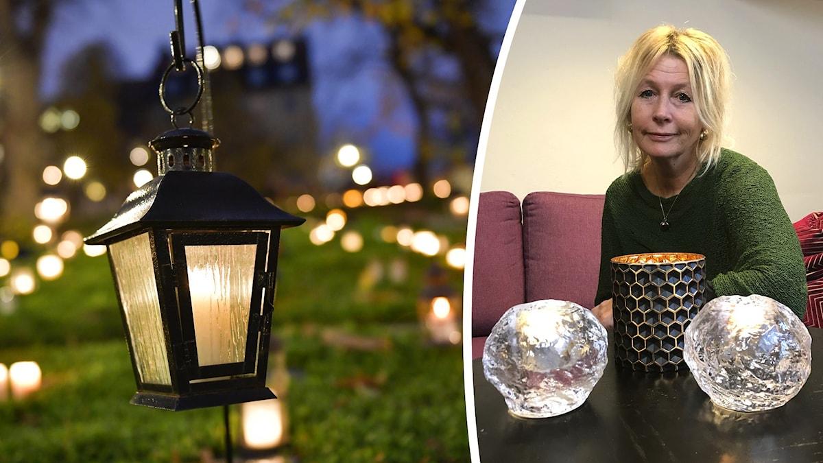 Tända gravljus på kyrkogård i kvällsmörker samt bild på Ing-Marie Lerström som sitter i en soffa med ljushållare på bordet framför sig.