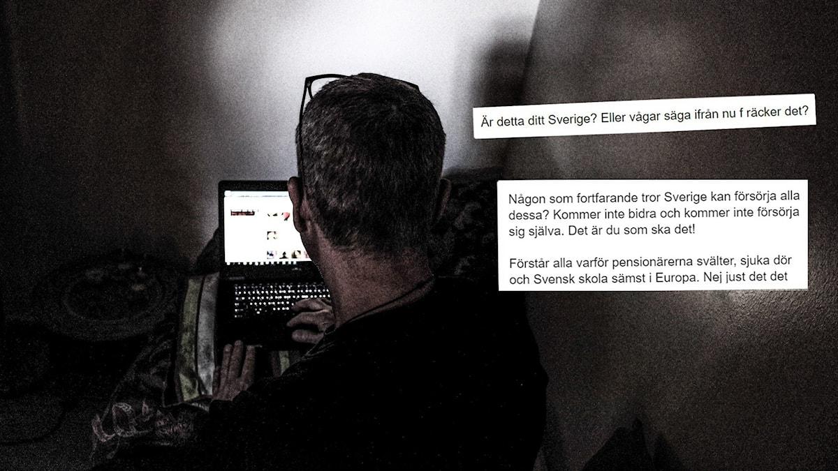 En man sitter med en dator i ett mörkt rum. På bilden syns citat från sociala medier.
