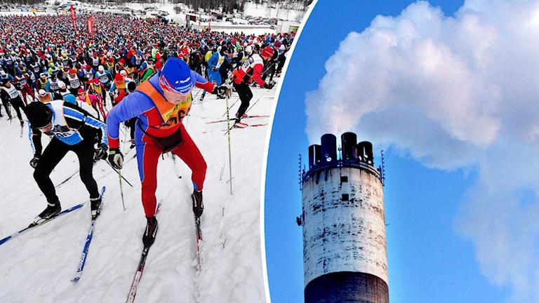 En deltagare i Vasaloppet som tar sig upp för en brant backe. På den andra bilden en skorsten som släpper ut rök mot en blå himmel.