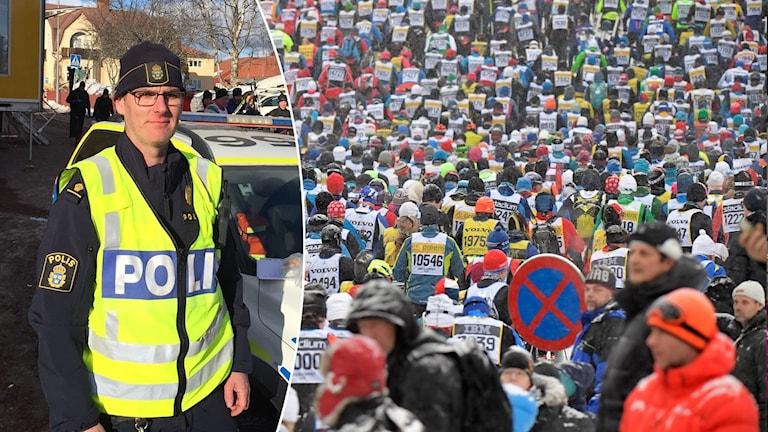 Anders Bälter, polisinsatschef under Vasaloppet framför sin polisbil och tusentals åkare som tränger sig fram efter starten i Sälen.