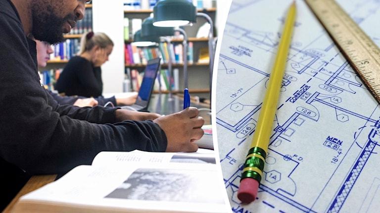 Två personer sitter och studerar i böcker i biblioteksmiljö, samt bild på husritning, penna och linjal.