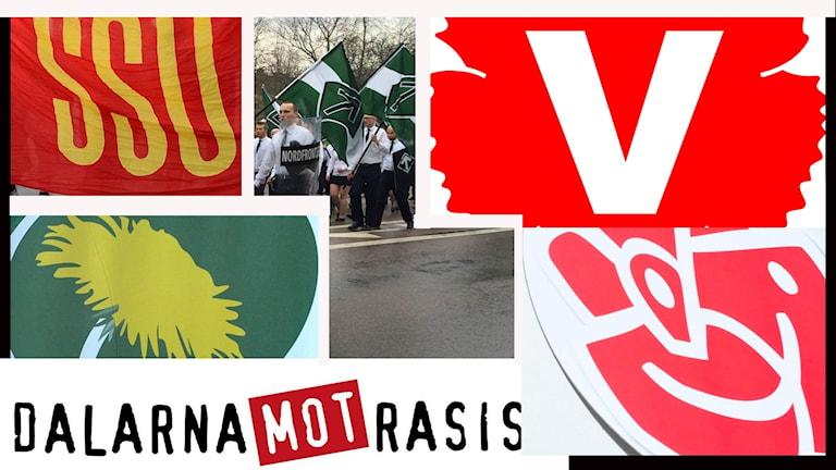 Kollage av bilder av de organisationer och partier som demonstrerar på 1 maj 2017