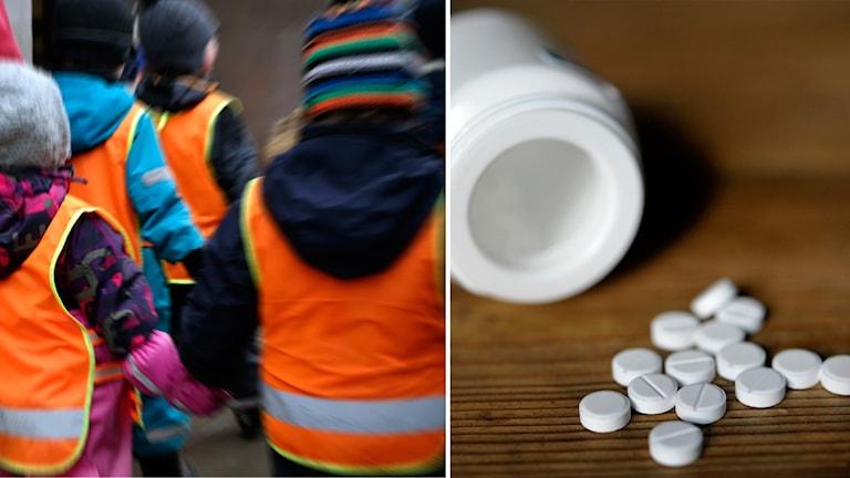 Kollage på dagisbarn och en burk medicin.