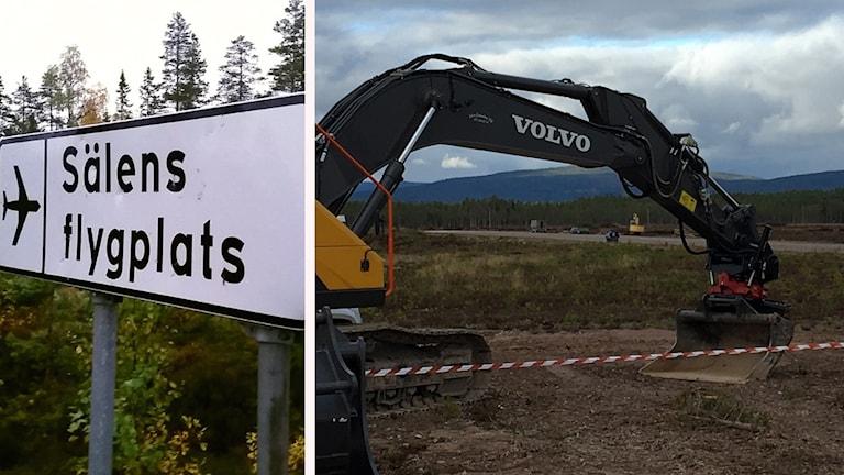 En skylt till Sälens flygplats och en grävskopa