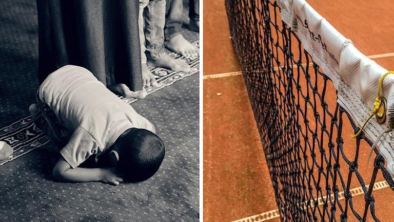 En pojke som ber och ett tennisnät