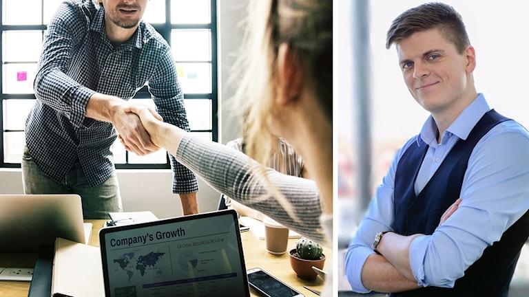 Två bilder, dels en anonymiserad bild på två personer som skakar hand över ett skrivbord, dels en bild på Filip Reineby som ler.