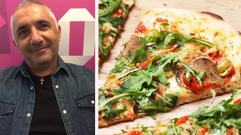 Pizzabagaren Zoran och en pizza