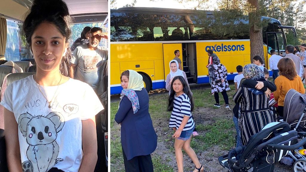 Dels bild på ung flicka som står i buss. Hennes familj är bakom henne. Dels bild på barn och vuxna flyktingar framför en buss.