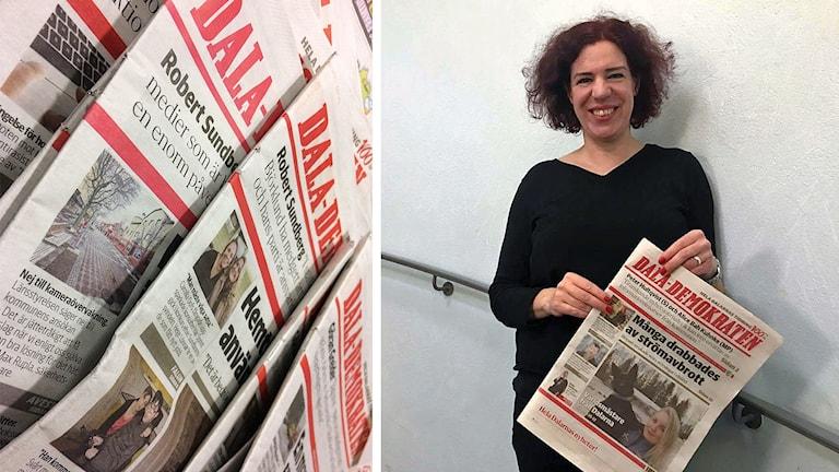Papperstidningar av Dala-Demokraten samt Lisa Pehrsdotter som ler och håller en DD-tidning i handen.