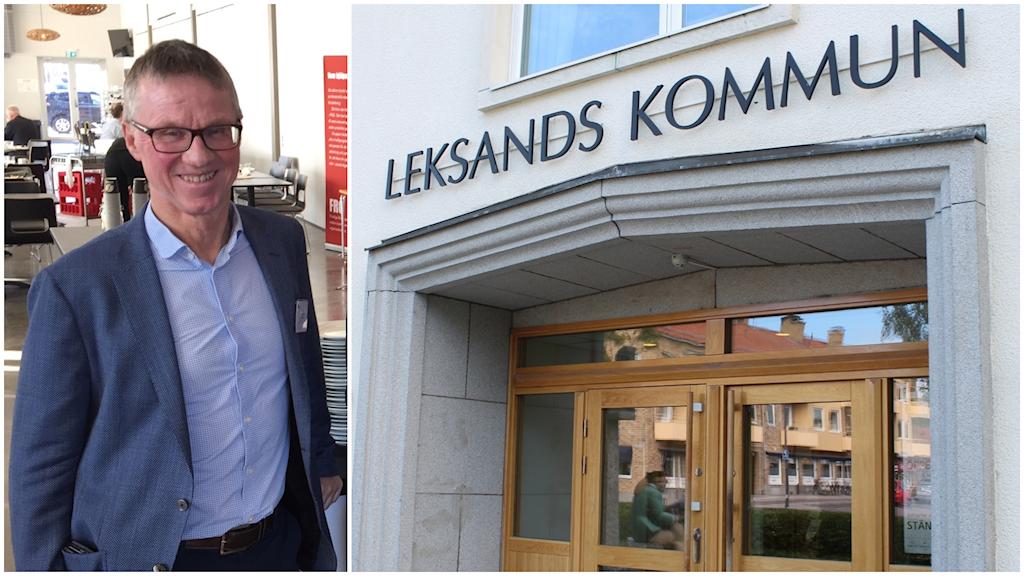Porträttbild på Göran Wigert sida vid sida med fasaden till Leksands kommunhus
