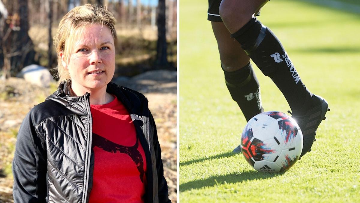 Ett par fötter som springer med en fotboll och en infälld bild på en blond kvinna som står i solen.