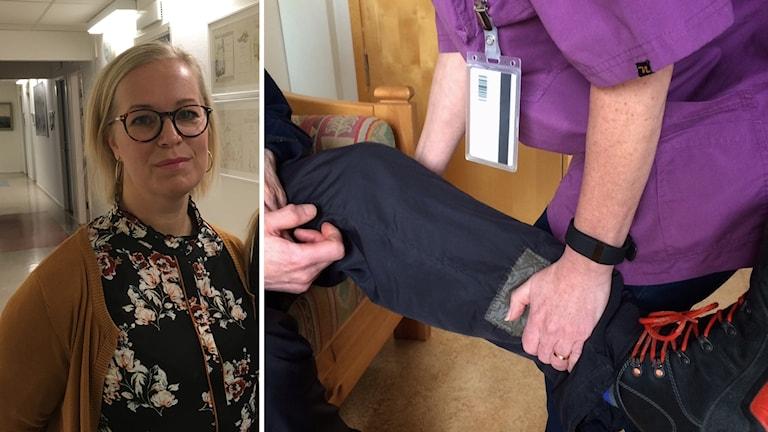 En bild på Lena Marmstål Hammar och en bild på en hemtjänstanställd som lyfter upp en äldres ben.