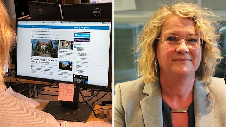 Bildsplitt på person som tittar på dator med DT uppe och Helena Nyman på högra sidan