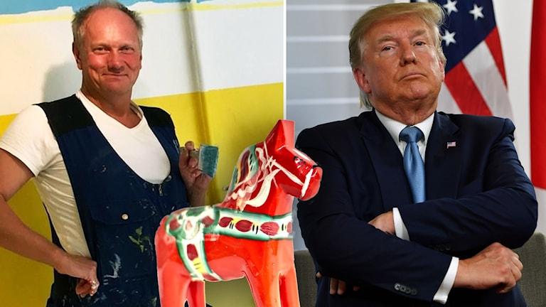 En man med en pensel i handen och en infälld bild på den amerikanska presidenten som har armarna i kors.