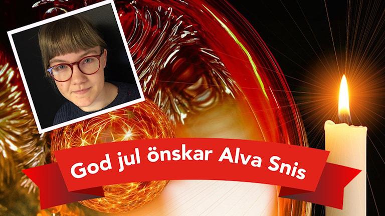 Alva Snis önskar god jul på en bild med ett stearinljus