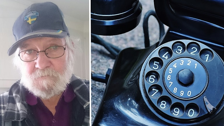 Montage av en man och en gammaldags telefon