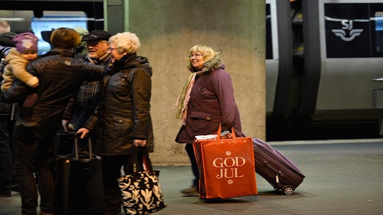 Julresenärer på Stockholms centralstation.