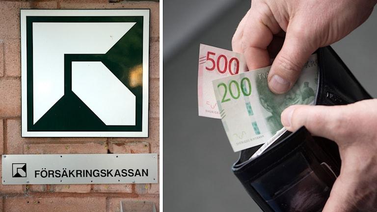 Försäkringskassans skylt och en plånbok med pengar