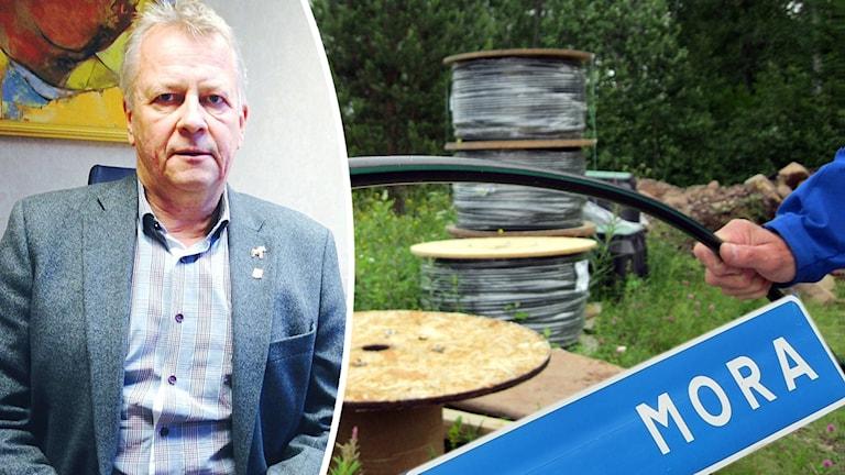 Moras kommunchef Peter Karlsson till vänster, fiberkablar till höger samt en skylt med texten Mora.