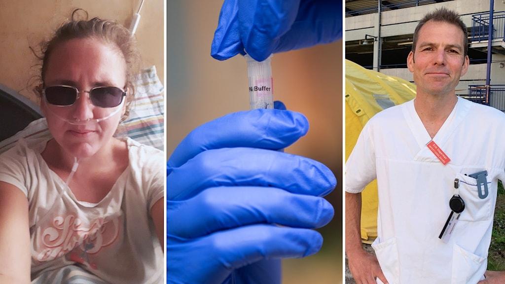 EN kvinna med solglasögon och syrgas, ett provrör, och en läkare i vit skjorta.