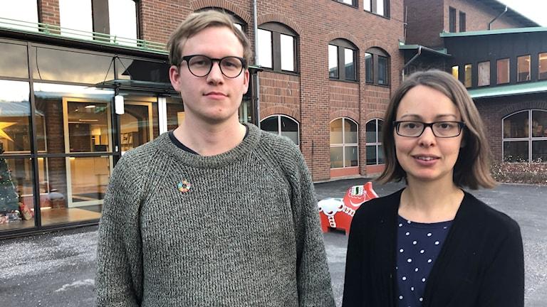 Salomon Abresparr, hållbarhetsutvecklare på Borlänge kommmun och Elina Brodén (MP), kommunalråd och ordförande i miljönämnden.
