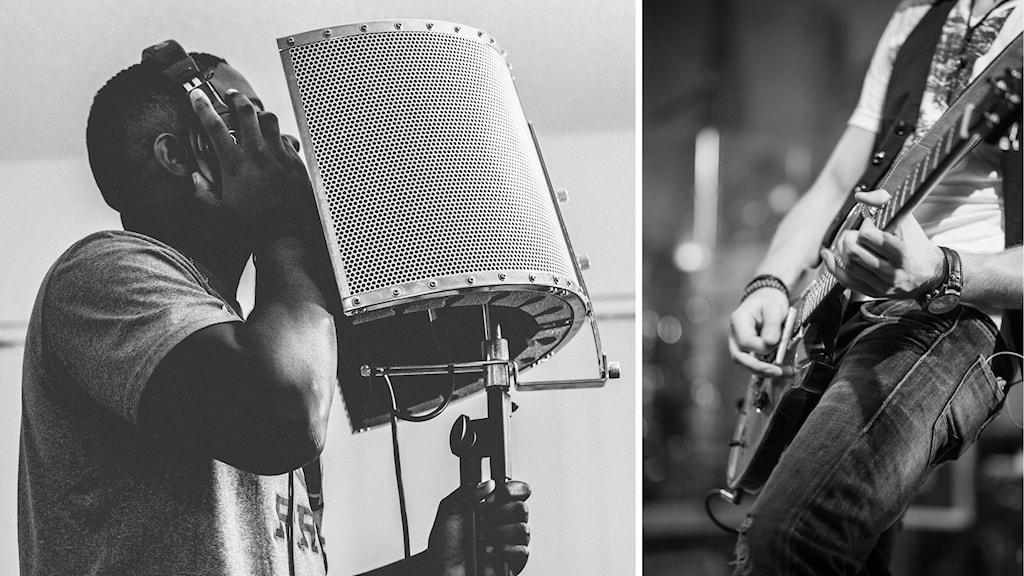 En person sjunger i studiomikrofon, en annan spelar gitarr.
