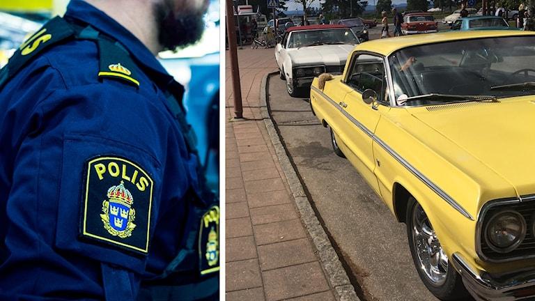 En polis står med sidan till kameran, på armen syns ett polis-emblem. Samt en bild på en gul bil.