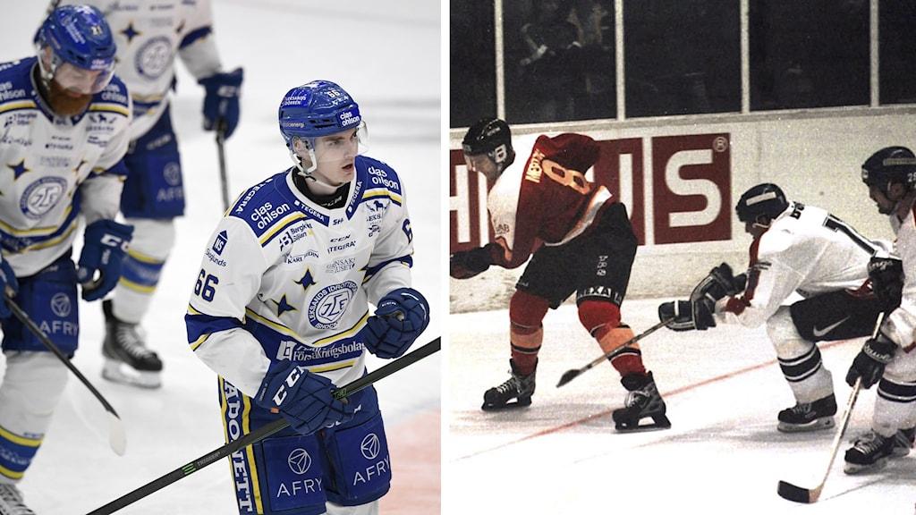 Ishockeyspelare i blåvita respektive rödvita ochsvartvita kläder.