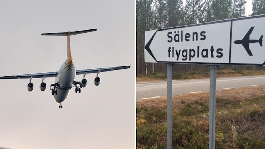 Ett flygplan på himlen och en skylt till Sälens flygplats.