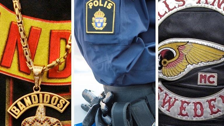 Bilder på Bandidos, Hells Angels och en polis