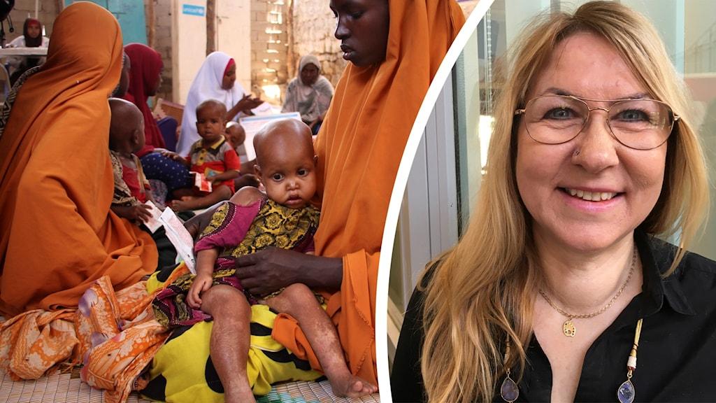 Delad bild på dels kvinnor och barn som sitter och har allvarliga miner, dels en porträttbild på en kvinna som ler.