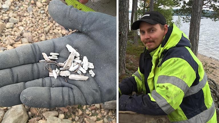 Rester av benbitar från järnåldern och arkeologen Jimmy Karlkvist från Dalarnas Museum.