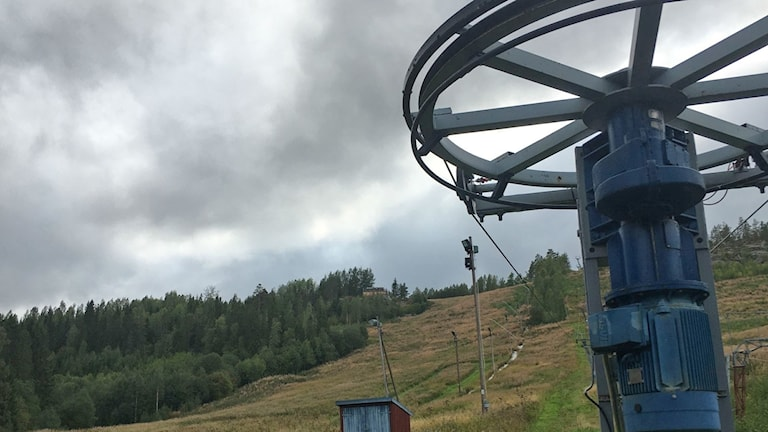 slalombacke, lift, höst